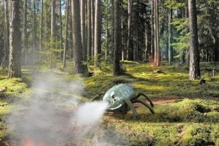 Robot Ragno OLE che spegne un principio di incendio